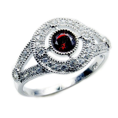 Sparkling Sterling Silver Red Cubic Zirconia Ring, Size 5.75 - The Silver Plaza