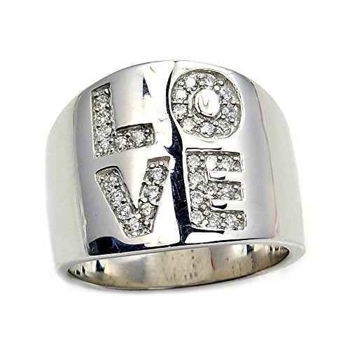 'Eternal Love' Engraved Sterling Silver Cubic Zirconia Ring, Size 7.75 - The Silver Plaza