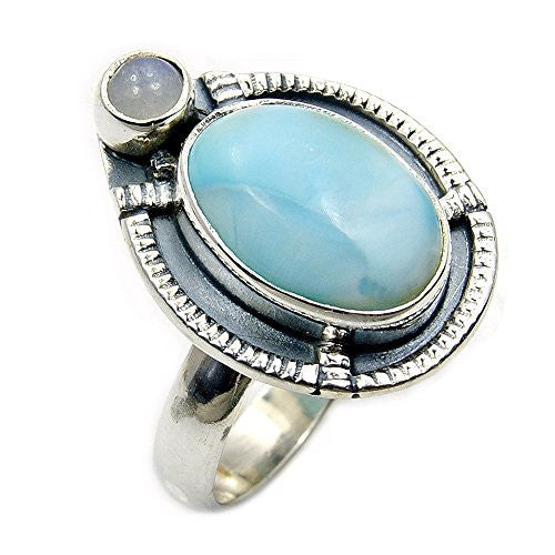 Oxidized Sterling Silver Natural Dominican Larimar, Moonstone Ring, Size 8 - Emavera