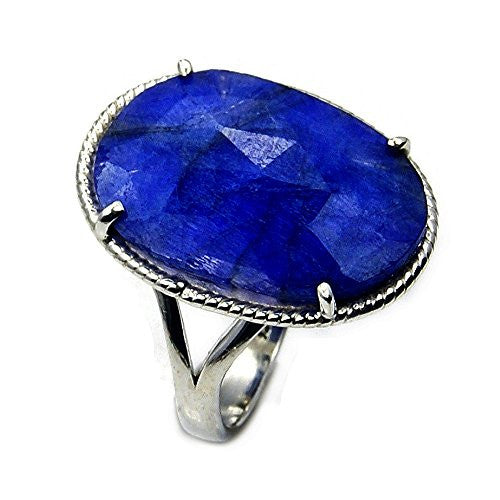 'Seductive Blue' Sterling Silver Blue Sapphire Ring, Size 7.5 - The Silver Plaza