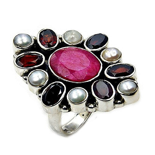 Sterling Silver Garnet, Red Sillimanite, Simulated Pearl Cluster Ring, Size 5.75 - The Silver Plaza