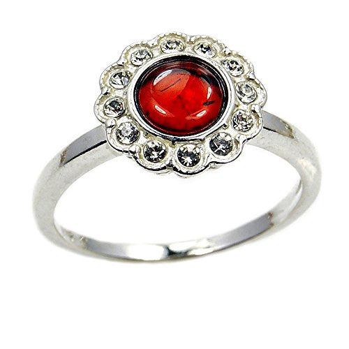 Daisy ' Sterling Silver Natural Baltic Amber, CZ Ring, Size 6.5 - The Silver Plaza