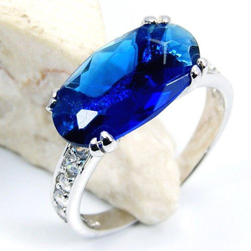 Blue Galaxy' Sterling Silver Blue CZ Ring Size 7.75 - Emavera