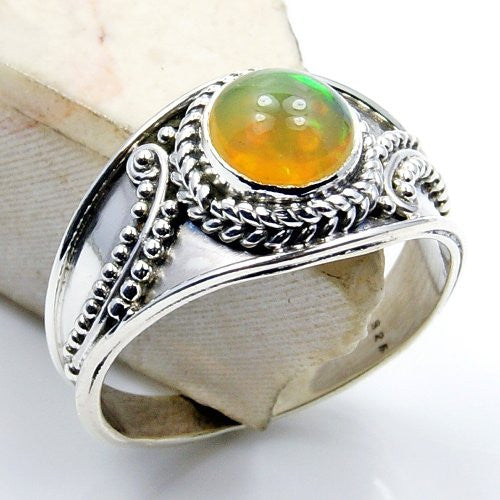 Sumptuous Sterling Silver Ethiopian Opal Ring, Size 7.75 - The Silver Plaza
