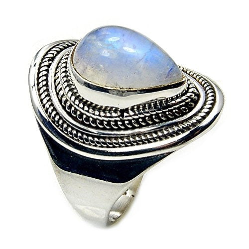 Mesmerizing Sterling Silver Moonstone Ring, Size 7.75 - Emavera