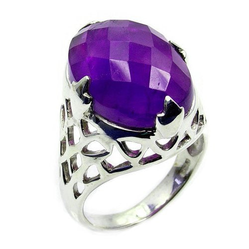 Majestic Sterling Silver Faceted Amethyst Ring, Size 6.75 - The Silver Plaza