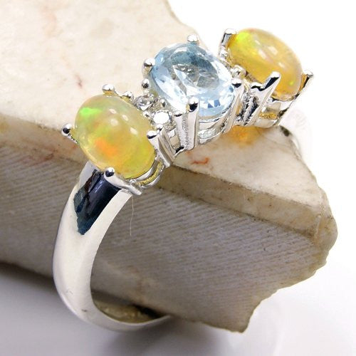 Sterling Silver Ethiopian Opal, Blue Topaz, Cubic Zirconia Ring, Size 7 - The Silver Plaza