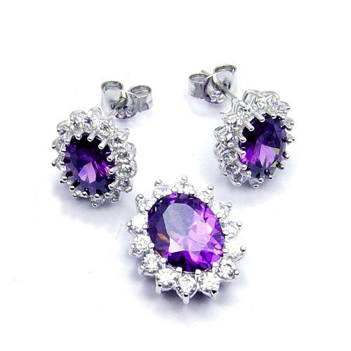 Sparkling Sterling Silver Purple CZ Earrings & Pendant Set - Emavera