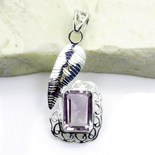 Romantic Sterling Silver Amethyst Pendant - The Silver Plaza