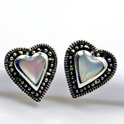 'Queen of Hearts' Sterling Silver Faux Blister Pearl, Marcasite Stud Earrings - The Silver Plaza