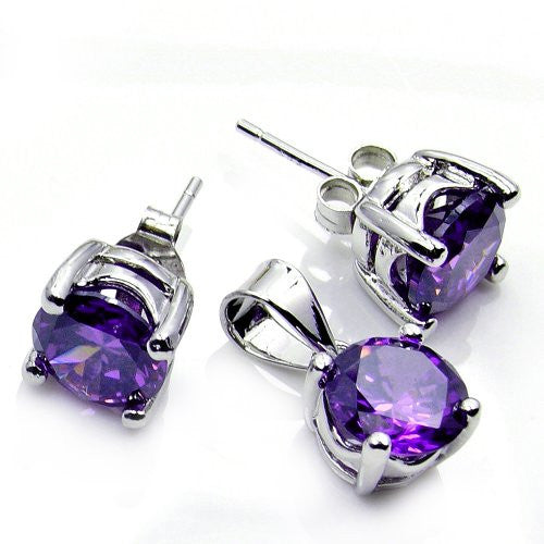 Flirty Sterling Silver Purple CZ Stud Earrings & Pendant Set - Emavera