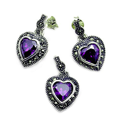 'Queen of Hearts' Sterling Silver Purple CZ, Marcasite Earrings & Pendant Set - The Silver Plaza