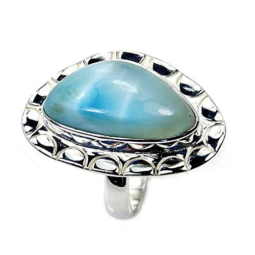 'Blue Paradise' Sterling Silver Rare Genuine Dominican Larimar Ring, Size 7.75 - The Silver Plaza