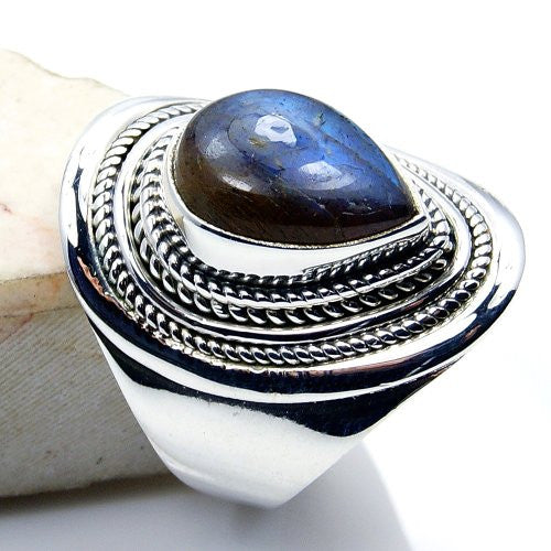 Unique Blue-brown Labradorite & Sterling Silver Ring, Size 6 - The Silver Plaza