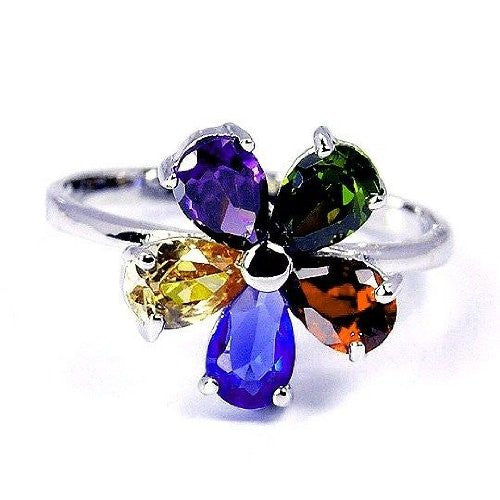 """Blossom"" Multigem CZ Flower & Sterling Silver Ring Size 4.75 - The Silver Plaza"