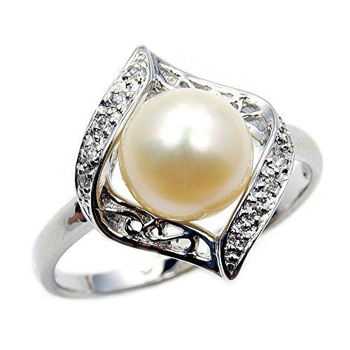Stunning Sterling Silver Simulated Pearl, CZ Bridal Ring, Size 9 - Emavera