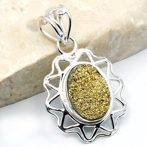 Sparkling Sterling Silver Golden Druzy Pendant - The Silver Plaza