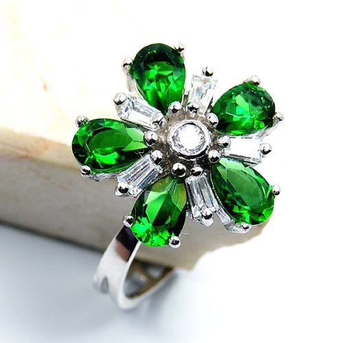 'Blossom' Green CZ & Sterling Silver Pendant or Ring Size 7 - The Silver Plaza