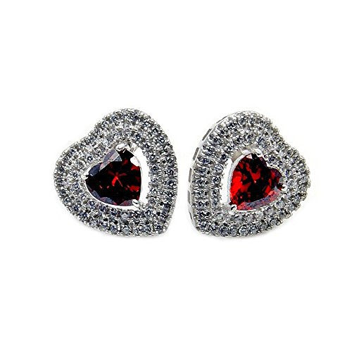 Sterling Silver Red Cubic Zirconia Heart Stud Earrings - The Silver Plaza