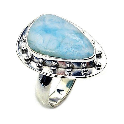 'Blue Sky' Sterling Silver Rare Natural Dominican Larimar Ring, Size 5.75 - The Silver Plaza