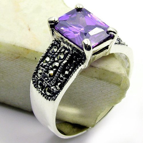 Glamorous Sterling Silver Purple CZ, Marcasite Ring Size 5.75 - The Silver Plaza