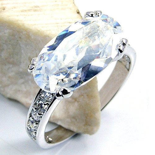 """Winter Wonderland"" Cubic Zirconia & Sterling Silver Ring Size 6.75 - The Silver Plaza"