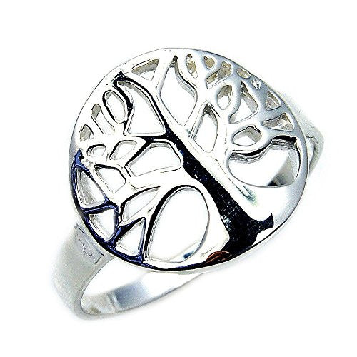 'Tree of Life' Solid Sterling Silver Ring, Size 5 - The Silver Plaza
