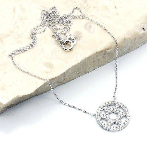 'Jewish Star of David' Sterling Silver Cubic Zirconia Necklace - The Silver Plaza