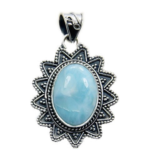 Incredible Sterling Silver Natural Dominican Larimar Pendant - The Silver Plaza