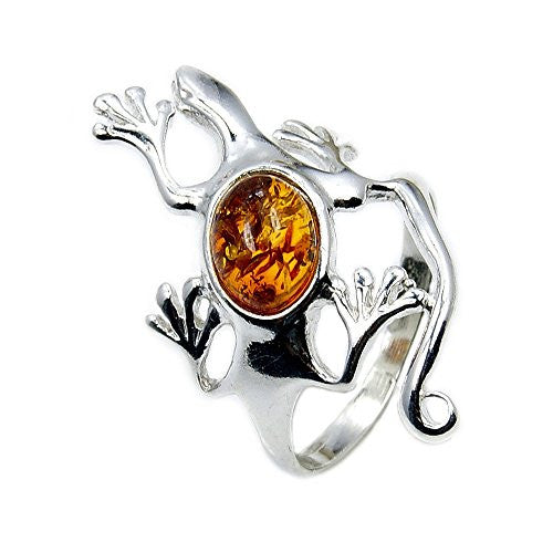 Sterling Silver Natural Baltic Amber Lizard Ring, Size 5.75 - The Silver Plaza