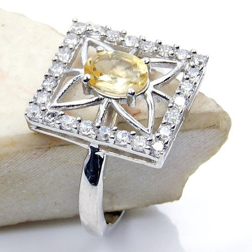 Sparkling Sterling Silver Citrine, Cubic Zirconia Ring, Size 7 - The Silver Plaza