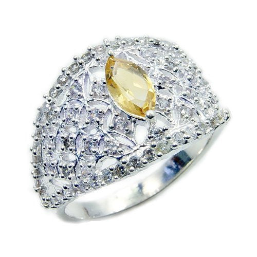 Sparkling Sterling Silver Citrine, Cubic Zirconia Ring, Size 6.5 - The Silver Plaza
