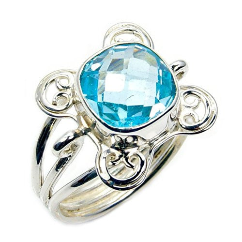 Beautiful Sterling Silver Blue Topaz Ring, Size 7.5 - Emavera