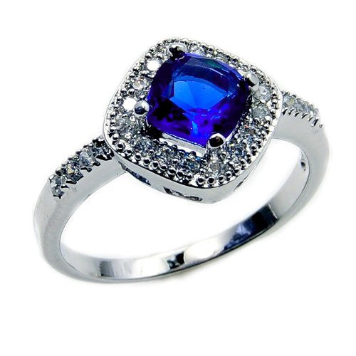 Seductive Sterling Silver Blue Cubic Zirconia Ring, Size 6.75 - Emavera