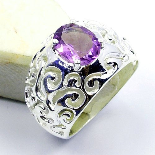 Romantic Sterling Silver Amethyst Ring, Size 6.75 - The Silver Plaza
