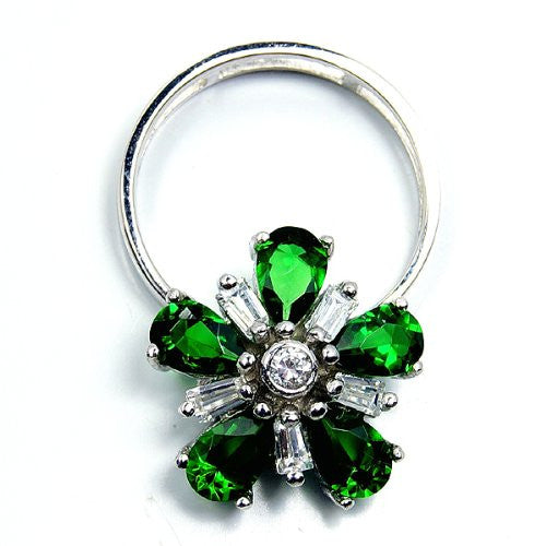 'Flower of Beauty' Green CZ & Sterling Silver Pendant or Ring Size 8.75 - The Silver Plaza