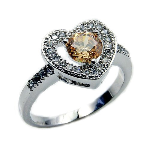 Sterling Silver Honey Cubic Zirconia Heart Ring, Size 7.75 - The Silver Plaza