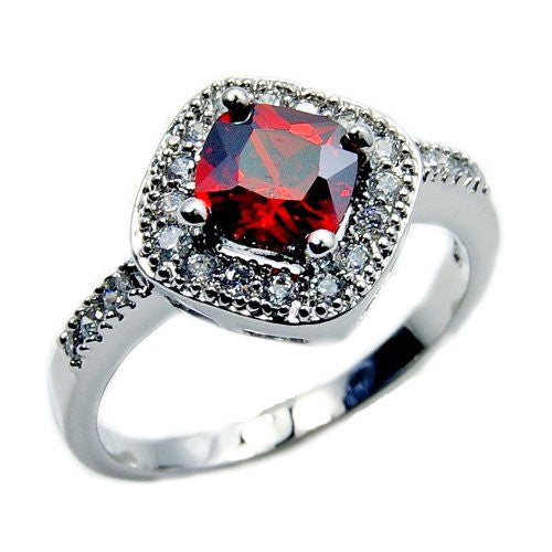 'Red Velvet' Sterling Silver Red Cubic Zirconia Ring, Size 5.75 - The Silver Plaza