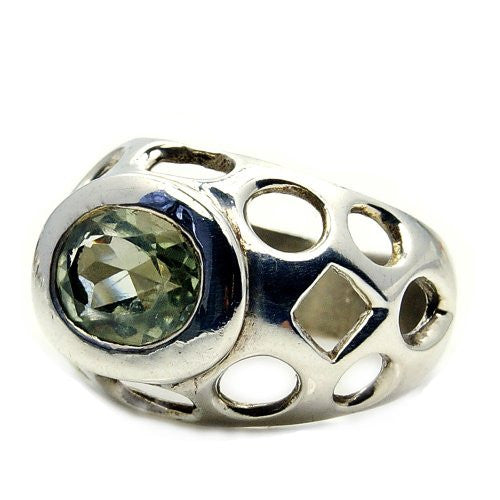 Unique Sterling Silver Green Amethyst Ring, Size 8 - The Silver Plaza