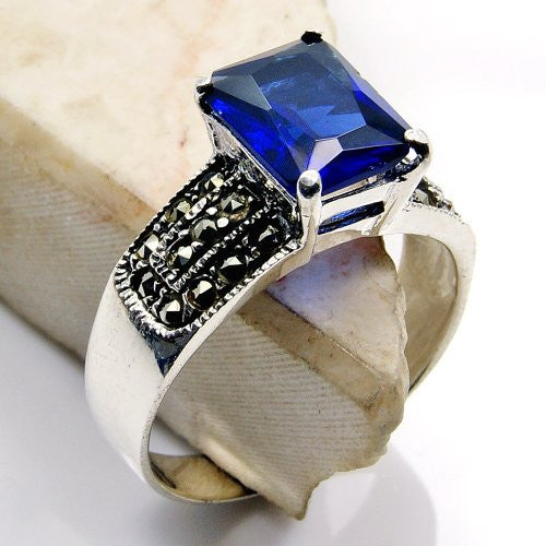 'Midnight Ocean' Sterling Silver Dark Blue Cubic Zirconia, Marcasite Ring Size 6.75 - The Silver Plaza