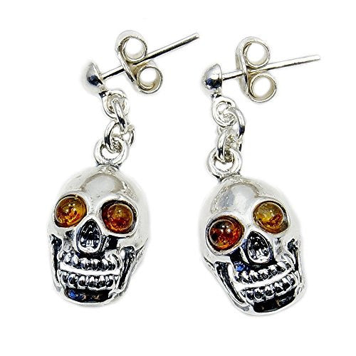 Sterling Silver Natural Baltic Amber Skull Dangle Earrings - The Silver Plaza