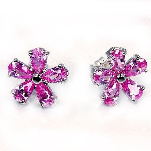 Sterling Silver Princess Pink CZ Flower Stud Earrings - The Silver Plaza