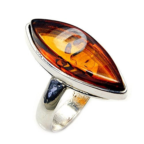 'Soothing Glow' Sterling Silver Natural Baltic Amber Ring, Size 6 - The Silver Plaza