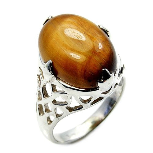 Incredible Sterling Silver Tiger's Eye Ring, Size 8.25 - The Silver Plaza
