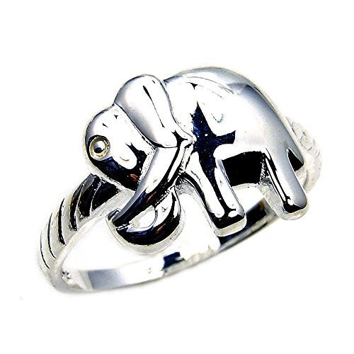 'Good Luck Elephant' Solid Sterling Silver Ring, Size 8.75 - Emavera