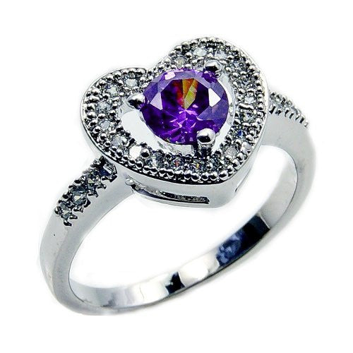 Sterling Silver Purple Cubic Zirconia Heart Ring, Size 8 - Emavera