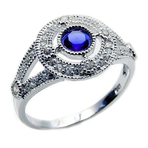 'Midnight Sky' Sterling Silver Blue Cubic Zirconia Ring, Size 7.75 - Emavera
