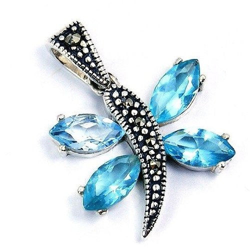 'Butterfly Beauty' Blue Cubic Zirconia, Marcasite & Sterling Silver Pendant - The Silver Plaza