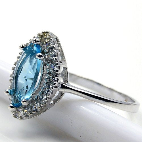 Sparkling Sterling Silver Blue Cubic Zirconia Ring, Size 5.75 - The Silver Plaza