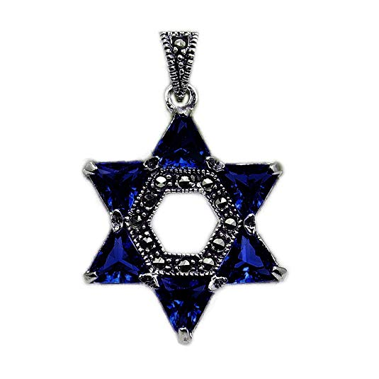 """Jewish Star of David"" Sapphire Blue CZ, Marcasite & 925 Sterling Silver Pendant - The Silver Plaza"